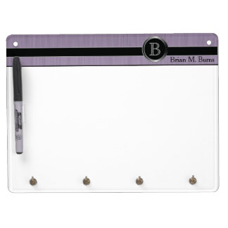 Executive Monogram Design - Amethyst Brush Steel Dry Erase Board With Key Ring Holder