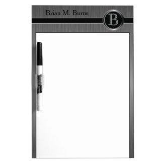 Executive Monogram Design - Black Brush Steel Dry Erase Board