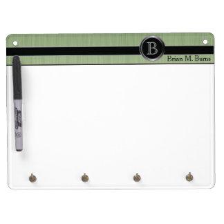 Executive Monogram Design - Peridot Brush Steel Dry Erase Board With Key Ring Holder