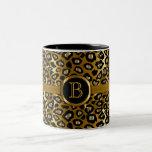 Executive Monogram - Gold & Black Leopard Pattern Two-Tone Mug