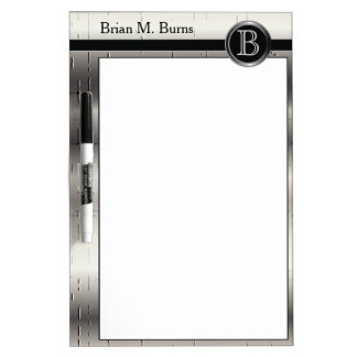Executive Monogram Silver Metal Dry Erase Board