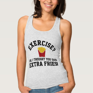 Exercise, Extra Fries Anti-Workout Funny Food Singlet