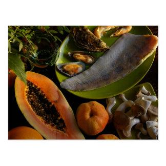 Exotic food postcard