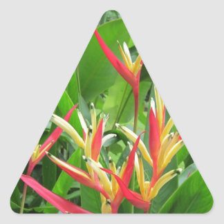 Exotic orange and gold flowers triangle sticker
