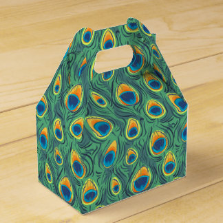 Exotic Peacock Feather Pattern Jewel Green Favour Box