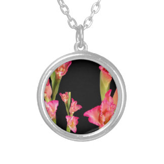 Exotic Pink Flower Bouquet Floral Elegant Gifts Round Pendant Necklace