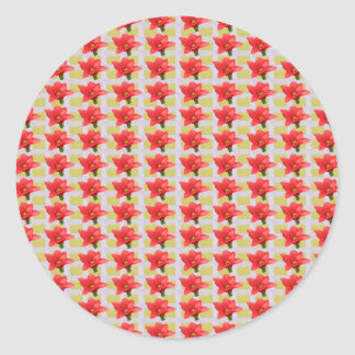 Exotic Red Tulip petal based Waves Patterns GIFTS Round Sticker