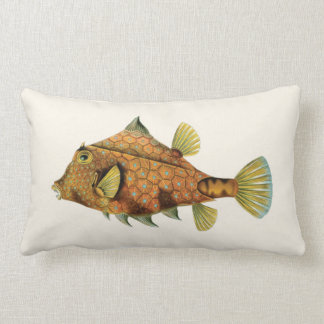 Exotic Tropical Fish in Orange and Yellow Lumbar Cushion