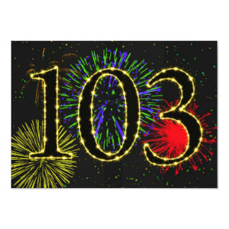 Exploding fireworks 103rd birthday party invitate card