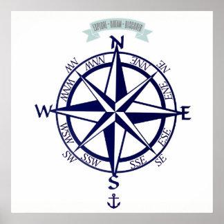 Explore-Dream-Discover Compass with anchor Print