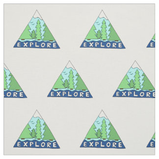 Explore Nature Outdoors Travel City Mountains Fabric