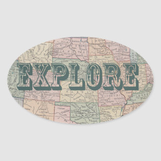 Explore - Vintage map quotes Oval Sticker