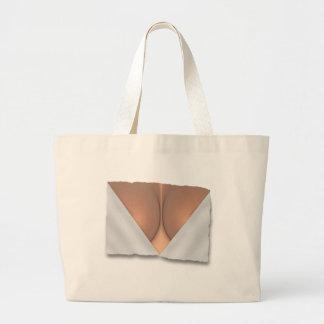 Exposed Breast Cleavage Large Tote Bag