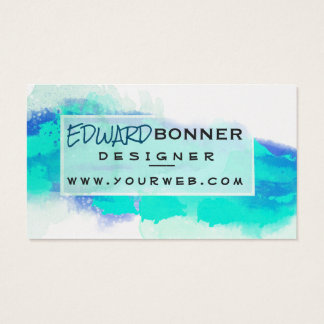 Expressionism Watercolor Permanent Green Visiting Business Card