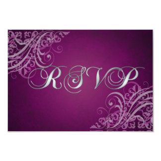 Exquisite Baroque Pink Scroll RSVP Card 9 Cm X 13 Cm Invitation Card
