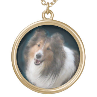 Exquisite Sheltie Gold Pendant Necklace
