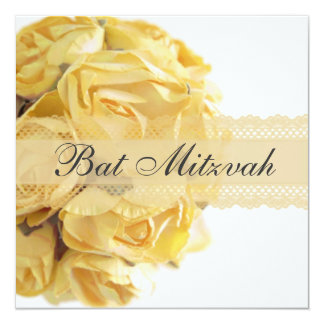 Exquisite Yellow Roses Bat Mitzvah Invitation
