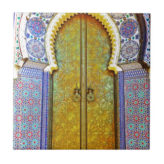 Exquisitely Detailed Moroccan Pattern Door Small Square Tile