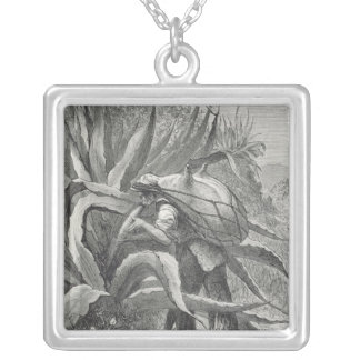 Extracting Pulque Silver Plated Necklace