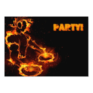Extreme cool Flaming DJ party invitation.