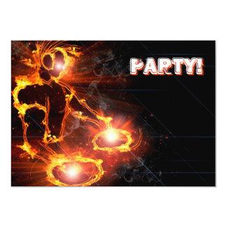 Extreme cool Flaming DJ party invitation. 13 Cm X 18 Cm Invitation Card