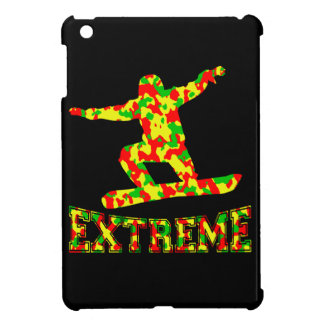EXTREME SNOWBOARDER IN RED, GREEN, AND YELLOW CAMO iPad MINI CASE