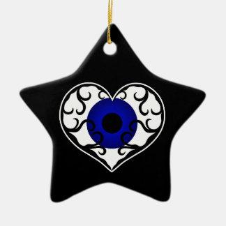 Eye heart star christmas ornament