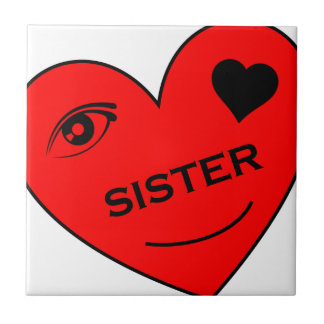 Eye Love My Sister Small Square Tile
