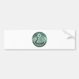 Eye On The Dollar Illuminati Pyramid Bumper Sticker