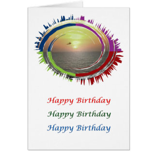Eye Popping Art - HappyBirthday Romantic Sunset Card