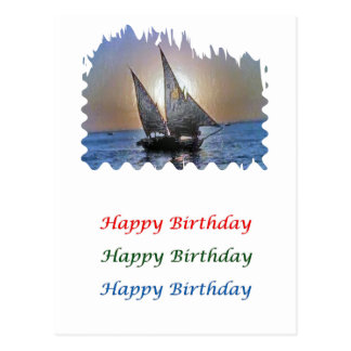 Eye Popping Art - HappyBirthday Sunset Sail Postcard