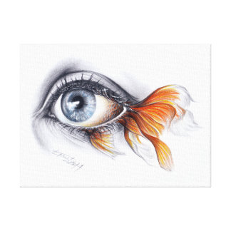 Eye with fish tail Surreal art Wrapped canvas Gallery Wrap Canvas