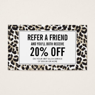 Eyelashes with Leopard Print Salon Referral Business Card
