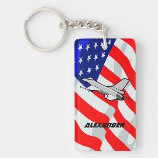 F16 Fighting Falcon Fighter Jet American Flag Rectangular Acrylic Key Chain