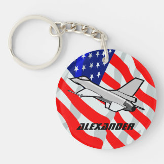 F16 Fighting Falcon Fighter Jet American Flag Key Chains