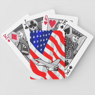 F16 Fighting Falcon Fighter Jet American Flag Poker Deck