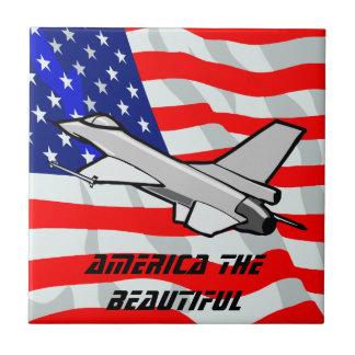 F16 Fighting Falcon Fighter Jet American Flag Ceramic Tile