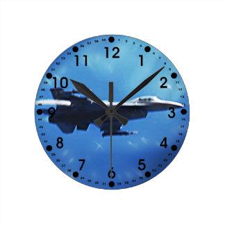 F16 Fighting Falcon Fighter Jet In Flight Round Clocks