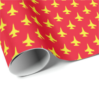 F-16 Falcon Fighter Jet Pattern Yellow on Red Wrapping Paper