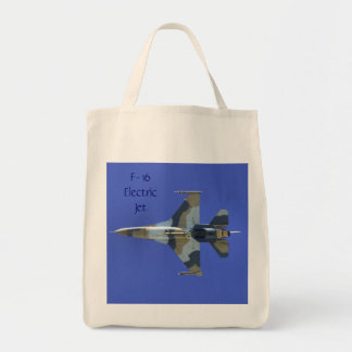 F-16 Fighting Falcon Electric Jet Grocery Tote Bag