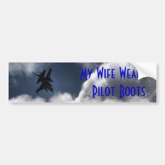 F-16 Fighting Falcon in the Cloudy Sky Bumper Stickers