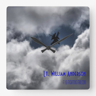 F-16 Fighting Falcon in the Cloudy Sky Square Wallclock