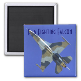 F-16 Fighting Falcon Labeled Square Magnet