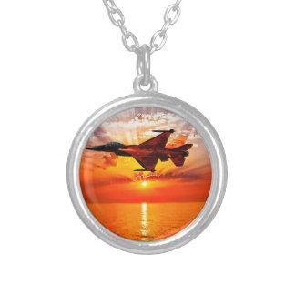 F-16 Fighting Falcon Round Pendant Necklace