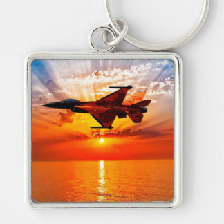 F-16 Fighting Falcon Silver-Colored Square Key Ring