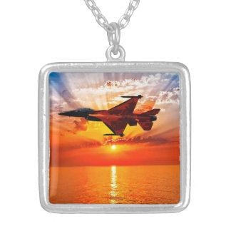 F-16 Fighting Falcon Square Pendant Necklace