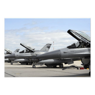 F-16 Fighting Falcons await to launch Photo Art