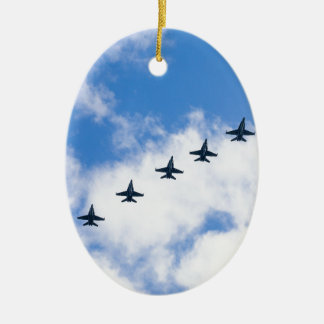 F-18C Hornets flying in blue sky with clouds Christmas Ornament