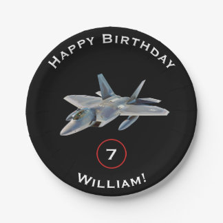 F-22 Raptor Fighter Jet Birthday with Name and Age Paper Plate