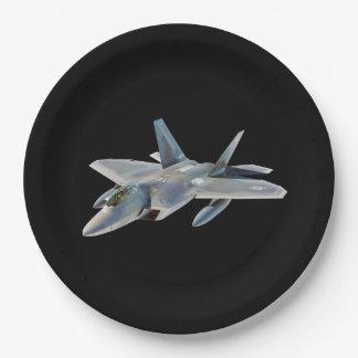 F-22 Raptor Fighter Jet on Black Paper Plate